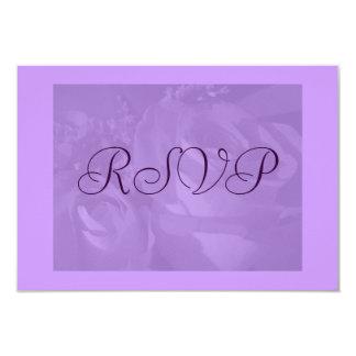 """Rosas en púrpura con la frontera púrpura"" - RSVP Invitación 8,9 X 12,7 Cm"