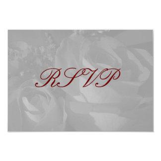 """""""Rosas en"""" - RSVP blanco y negro [a] Invitación 3.5"""" X 5"""""""