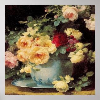 Rosas en un cuenco azul - impresión póster