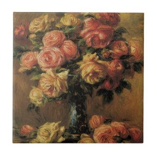 Rosas en un florero por Renoir, impresionismo del Azulejo