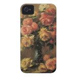 Rosas en un florero por Renoir, impresionismo del Case-Mate iPhone 4 Carcasas