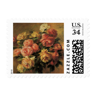 Rosas en un florero por Renoir, impresionismo del Sello