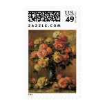 Rosas en un florero por Renoir, impresionismo del Franqueo