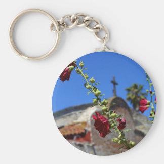 Rosas en un misionario llavero redondo tipo pin