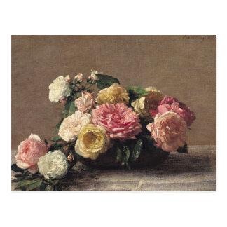 Rosas en un plato, 1882 postal