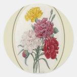 Rosas en un soporte oval clásico pegatina redonda
