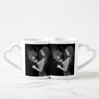 Rosas enamorados set de tazas de café