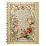 Rosas esculpidos vintage romántico cuaderno