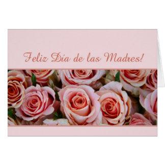 Rosas españoles del rosa del día de madre tarjeton