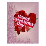 Rosas felices del día de San Valentín Tarjetas Postales