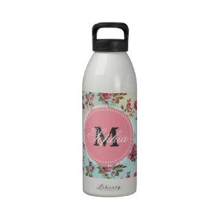 Rosas femeninos de moda hermosos del monograma del botella de beber