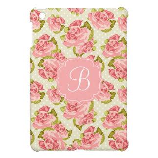Rosas femeninos del rosa del vintage cones monogra iPad mini fundas