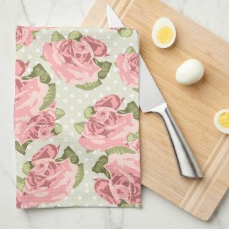 Rosas femeninos del rosa del vintage toalla