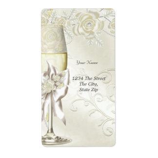 Rosas florales de la perla de la crema del oro del etiquetas de envío