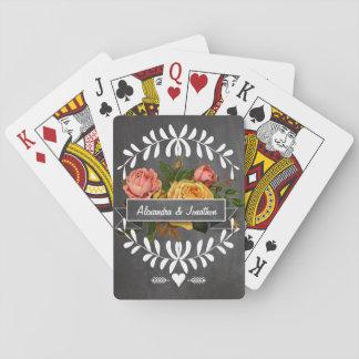 Rosas florales de la pizarra de la guirnalda cartas de póquer