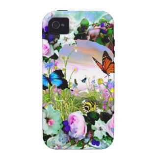 ROSAS FLORALES DE LOS WILDFLOWERS DE LAS MARIPOSAS VIBE iPhone 4 CARCASAS