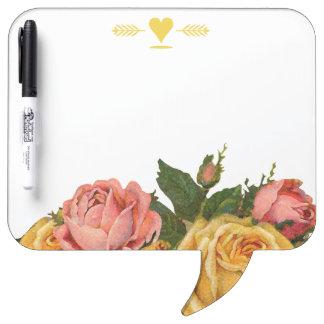 Rosas florales del vintage romántico de la tablero blanco