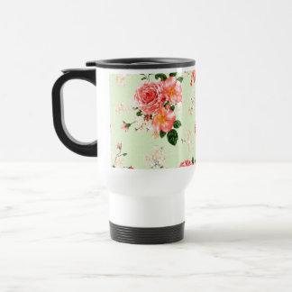 Rosas florales taza de viaje