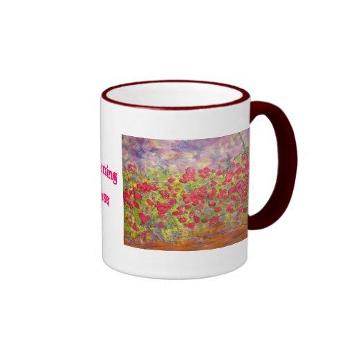 rosas florecientes (lema) tazas de café