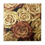 Rosas florecientes teja  ceramica