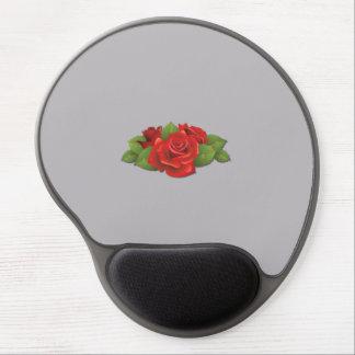 Rosas, flores, hojas, pétalos - verde rojo alfombrilla gel