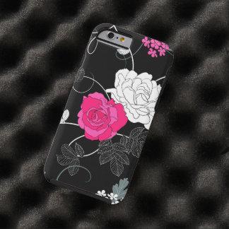 Rosas, flores, pétalos, hojas - negro blanco funda de iPhone 6 tough