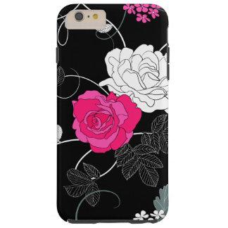 Rosas, flores, pétalos, hojas - negro blanco funda de iPhone 6 plus tough