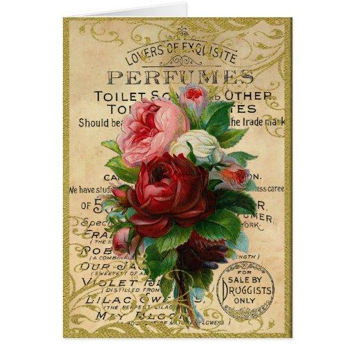 Rosas franceses antiguos tarjeta pequeña