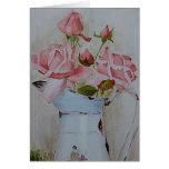 Rosas franceses de la jarra tarjetón