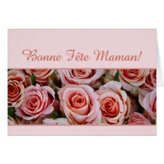 Rosas franceses del rosa del día de madre felicitaciones
