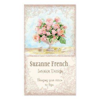 Rosas franceses pródigos elegantes del vintage ant plantilla de tarjeta de negocio