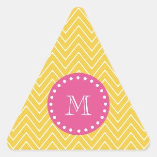 Rosas fuertes, Chevron amarillo el | su monograma Calcomania Triangulo Personalizadas