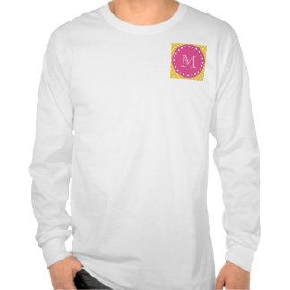 Rosas fuertes Chevron amarillo el su monograma Camisetas