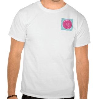 Rosas fuertes Chevron azul el su monograma Camisetas