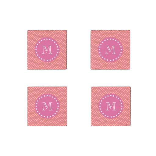Rosas fuertes, Chevron coralino el   su monograma Imán De Piedra