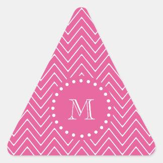 Rosas fuertes Chevron el | su monograma Pegatina Trianguladas Personalizadas