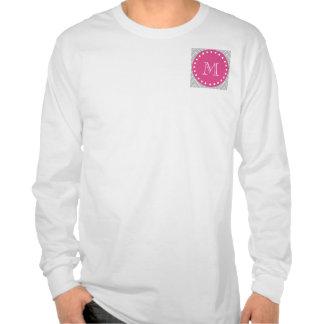 Rosas fuertes Chevron gris el su monograma Camiseta