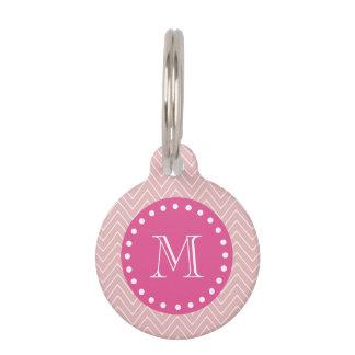 Rosas fuertes, Chevron rosado el   su monograma Placas Para Mascotas
