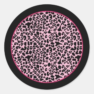 Rosas fuertes de moda y estampado leopardo moderno pegatina redonda