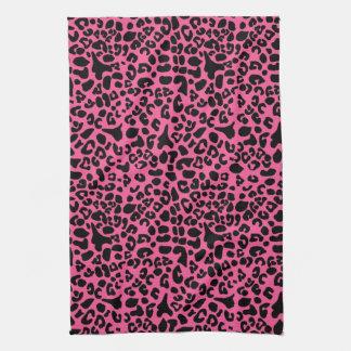 Rosas fuertes de moda y estampado leopardo moderno toalla de cocina