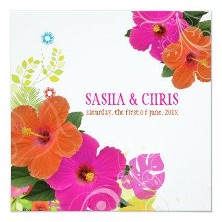 """Rosas fuertes de PixDezines+hibisco Invitación 5.25"""" X 5.25"""""""