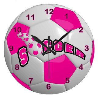 Rosas fuertes del balón de fútbol el   reloj redondo grande
