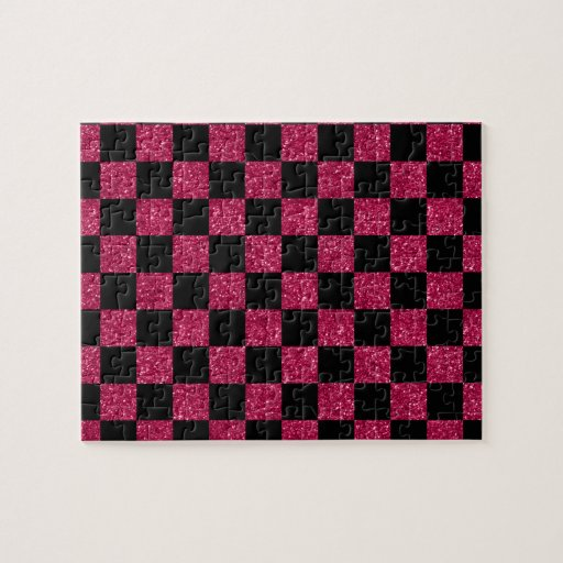 Rosas fuertes del brillo y modelo a cuadros negro puzzles con fotos