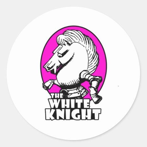 Rosas fuertes del logotipo del caballero blanco etiqueta redonda