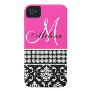 Rosas fuertes, diamantes impresos damasco negro, s iPhone 4 Case-Mate funda