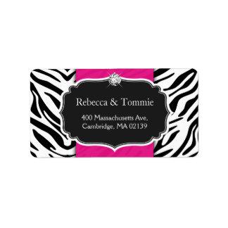 Rosas fuertes elegantes del estampado de zebra que etiquetas de dirección