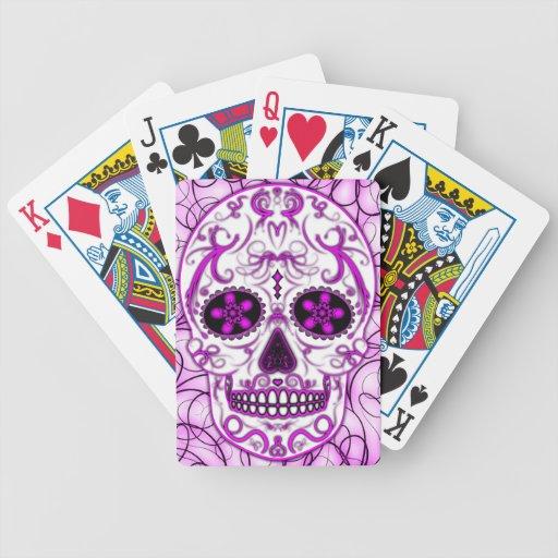 Rosas fuertes en el rosa - día del cráneo muerto d baraja de cartas