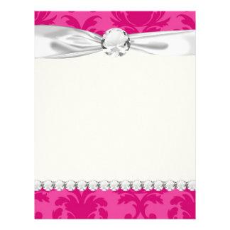 rosas fuertes en modelo elegante rosado del damasc plantillas de membrete