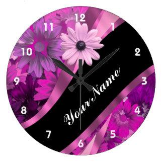 Rosas fuertes florales reloj redondo grande