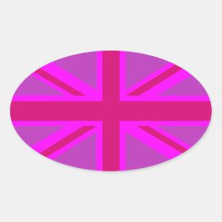 Rosas fuertes Fushia Union Jack Pegatina Ovalada